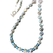 Flashing Labradorite Green Thai Sapphire Swarovski Crystal Sterling Necklace