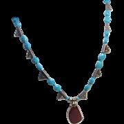 Sleeping Beauty Turquoise Carnelian Thai Silver Necklace Earring Set