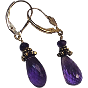 Faceted Light purple Amethyst Briolette 14Kt Gold Fill Earrings