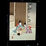 "SHUNTEI MIYAGAWA (1872-1914) ""Children's Fireworks"" Meiji Period Original Woodblock"