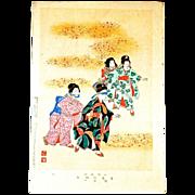 "SHUNTEI MIYAGAWA (1872-1914) ""Blind Man's Bluff"" Meiji Period Original Woodblock Pri"