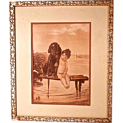 'PALS' Bathing Beauty Child & Dog by Bruno Piglheim