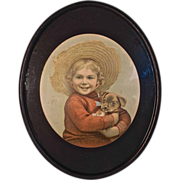 """""""Child in Straw Hat Holding Puppy"""" Very Old Print in Original Mat & Frame"""
