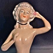 KARL SCHNEIDER  (Signed) Large Nude Half-Doll Placing a Pink Rose in Her Grey Pompadour ...