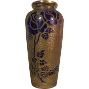 LEON LEDRU of VAL ST. LAMBERT - Important Rose Vase -  7-Karat Gold Encrusted Cobalt Art Glass