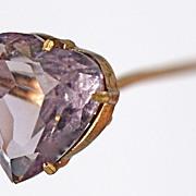 Amethyst Heart Hatpin/Stickpin/Jabot Pin -  Heavy Gold-Plate