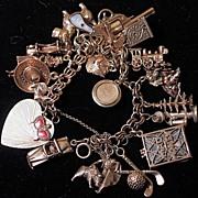 SOLD 14 Karat Gold Vintage Charm Bracelet - Heavy -19 charms