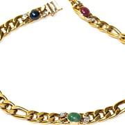 SOLD 14 Karat Gold Figaro Choker - Diamonds & Cabochon Sapphires, Rubies & Emerald