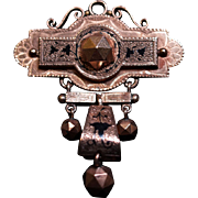 Taille d' Epergne 14 Karat Gold Chatelaine/Watch Fob Pin/Brooch c1870
