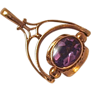 SPINNER FOB/Charm 3-Sided Amethyst-Pearl-Black Onyx - 9K Gold