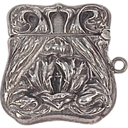 STAMP HOLDER Repousse Fob for Chatelaine - Sterling Fob/Charm