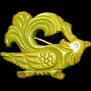Huge Green Carved Bakelite Rooster Bird of Paradise Pin/Brooch