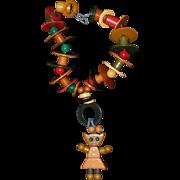 Bakelite Google-Eyed Kitten Crib Toy Necklace