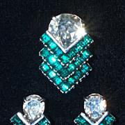 EISENBERG  Emerald Green Rhinestone Fur Clip & Screw-Back Earrings