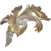 HATTIE CARNEGIE  Brooch/Pin - Gold (plate) Leaves Entwined with Clear Pave Rhinestone Leaves