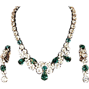 EISENBERG Ice Demi-Parure - Necklace & Clip Ons with Clear Crystals and Emerald Green Rhin