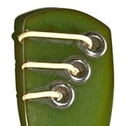 Green Spinach Bakelite Arrowhead Dress Clip