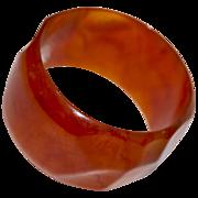 """1-5/8"""" Carved/Moulded Marbleized Root Beer Bakelite Bangle"""