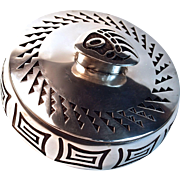SOLD BERNARD DAWAHOYA - HOPI BEAR PAW SILVER LIDDED BOX/BOWL