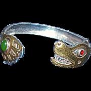 LARRY P. TARANOFF -Alaska Native Russian Carver, 'Bear  Father' Hand Carved Bracelet-18K Gold