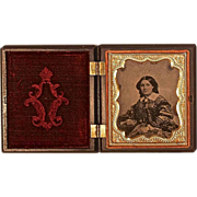DAGUERREOTYPE in Ornate Victorian Gutta Percha Union Case