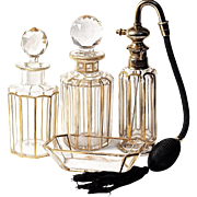 BACCARAT 22K Gold Trim Atomizer - 6-pc  Dresser/Vanity Perfume Set - Signed Parisienne Bite S.