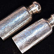 TIFFANY & CO, 1910 - Pair Etched Sterling Vanity Bottles for Lotion/Perfume/Cologne