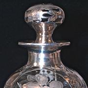 Art Nouveau Sterling Overlay/Deposit ABP Crystal Perfume Bottle