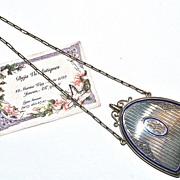 22 Karat Gold Edwardian Sapphire & Enamel Nécessaire/Dance Purse/Compact with Dance Card