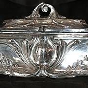 Huge Ca. 1884 Antique Jugendstil Art Nouveau Sterling Silver Casket - Jewelry Box/Chest