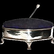 BIRMINGHAM 1908 - Antique Sterling Jewelry Box - Pin/Hatpin  Cushion Top - English