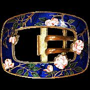 Champleve Belt Buckle - Cabbage Roses set in Cobalt enamel on Gilt Metal