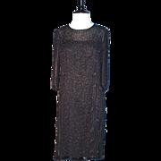 BEADED FLAPPER DRESS - Black Silk Chiffon Heavily Hand Beaded Cocktail Dress
