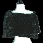 HATTIE CARNEGIE 1940s Green Silk Velvet Fur Stole
