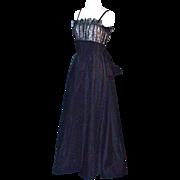 EISENBERG ORIGINAL 1930s Elegant Gown/Dress - Black Satin & Lace
