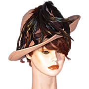 MISS SCHIAPARELLI  Paris - Tan Fedora with Iridescent Feather Trim