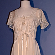 1910 SILK DAY DRESS/BRIDAL/NIGHTGOWN - Hand-Made Lace Inlay and Trim, Silk Ribbon on Creamy An