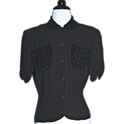 1930s EISENBERG ORIGINAL Beaded Jet Black Crepe Jacket/Blouse