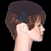 CORALIE  Beaded Burgundy Velvet Pill-Box Hat