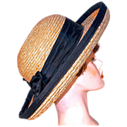 Straw Picture Sun Hat with Black Grosgrain Ribbon Trim