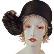 SCHIAPARELLI PARIS CLOCHE - Couture with Flirty Feather Accent - Black