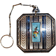 Dance Compact - Blue Guilloche Enamel Flower Basket Cartouche with Engine Turned Vertical Line