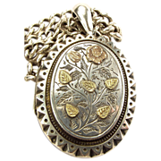 Victorian Silver & 9ct Gold LOCKET & Dble ALBERT Watch Chain 1881