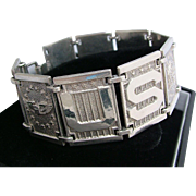 PATRIOTIC Vintage WW11 Sterling Silver US Air Corps Panel Bracelet