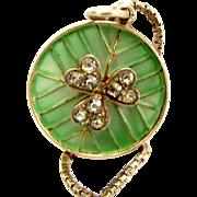 Edwardian Plique-a-jour Silver Pendant Charm Paste SHAMROCK Necklace