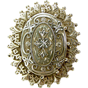 Victorian Sterling Silver Mourning Hair LOCKET Pin/Brooch Very Ornate