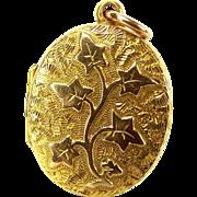 Antique Victorian 15ct Gold IVY LEAF Locket Opens