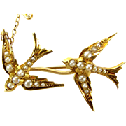 Victorian 14ct/15ct Gold & Seed Pearl Two SWALLOWS Bar Brooch