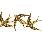 Victorian 15ct gold & Seed Pearl 3 SWALLOW Brooch Pin