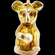 Vintage 9ct Gold Charm KOALA BEAR + Ball Ruby Red Eyes Georg Jensen London Mark 1963
